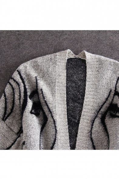 Character Long Sleeve Fashion Cardigan Open Front Tunic Print pdqqBwg