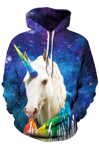 Kangaroo Unicorn Colorful Long Pocket Sleeve Printed with Hoodie Galaxy 5q0wTndT