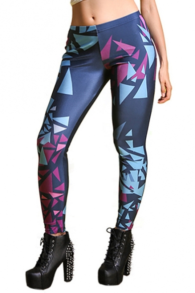 Geometrical Printed Elastic Waist Ankle Leggings