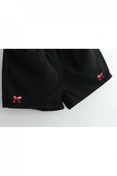 New Fashion Bow Embroidered Elastic Waist Shorts