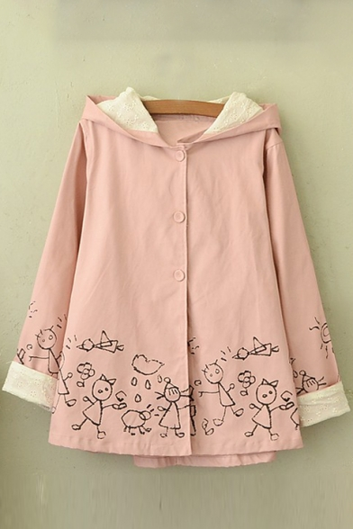New Fashion Cartoon Print Contrast Cuff Buttons Down Long Sleeve Coat