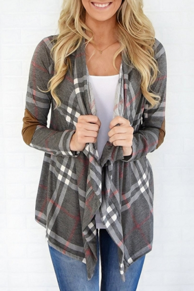 Fashion Pattern Sleeve Waterfall New Plaid Coat Long 4qcdEEW