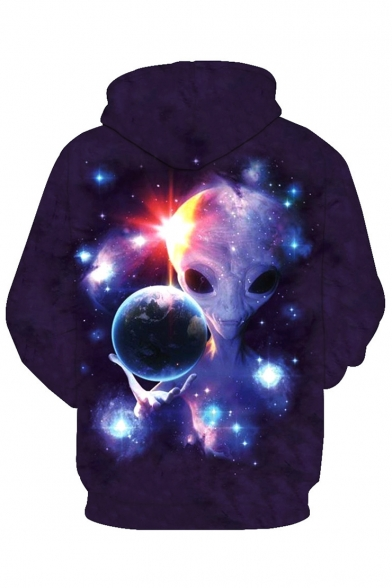 Pocket Drawstring Hood Sleeve Alien New Long Hoodie Stylish Print wqnR7S0t