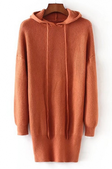 Plain Stylish Dress Drawstring Simple Hood New Sweater Long Sleeve AcwqdcyYv