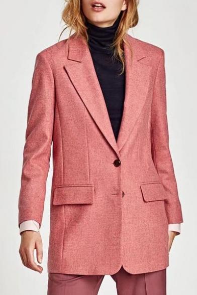 New Stylish Notched Lapel Long Sleeve Simple Plain Tunic Blazer