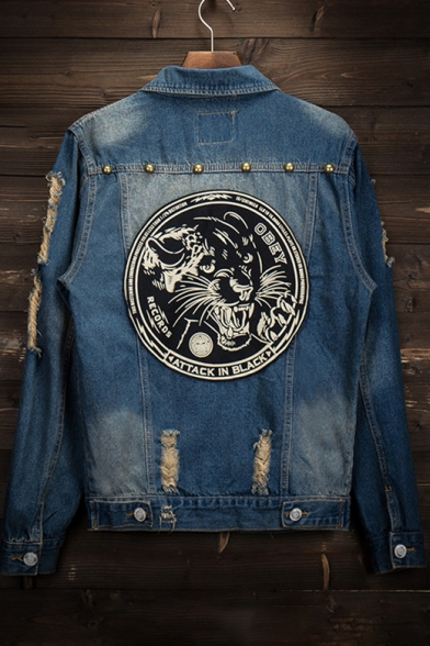 New Panther Jacket Long Embroidery Stylish Leopard Ripped Sleeve Denim r8qrwRE