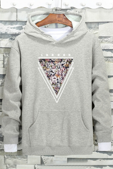 Long hood Hoodie New Triangle Pattern Loose Drawstring Stylish Sleeve 8qwrX8I