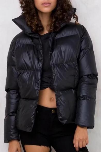 New Stylish Collar Long Sleeve Plain Padded Coat