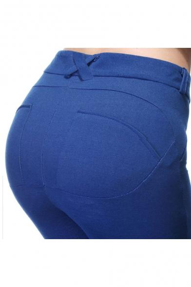 New Stylish Zip Zip Fly Simple Plain Skinny Pants