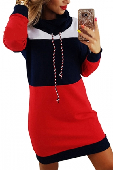 Women's Leisure Color Block Panel Long Sleeve Tunic Mini Dress