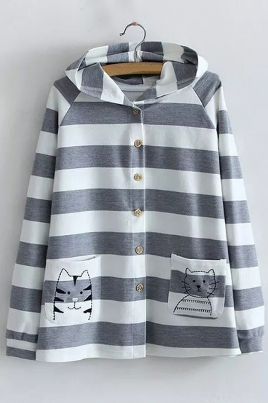 Adorable Striped Design Long Sleeves Cat Embroidered Button-Down Hooded Coat with Pockets