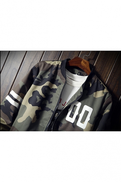 Zip with Striped Sleeve Camouflaged Long up Baseball Pockets Letter Printed Jacket SaxxnXz