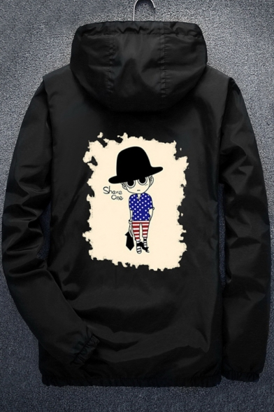 Chic Cartoon Boy Print Zipper Long Sleeve Hooded Windproof Jacket