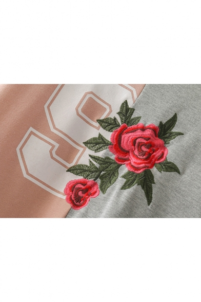 Rose Pullover Neck Sleeve Long Chic Sweatshirt Round Block Color Embroidered awdR8Ad