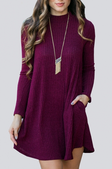 Crew Neck Long Sleeve Plain Ribbed Knitted Sweater Dress with Pockets