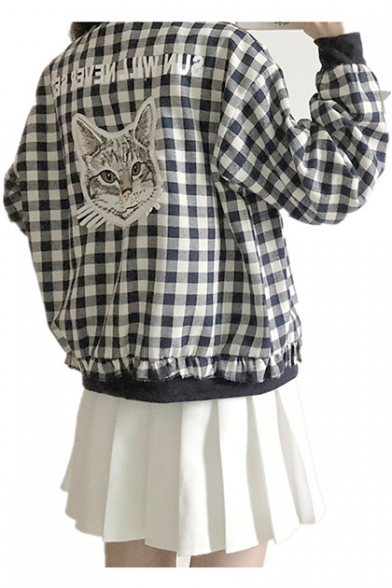 Sleeves Cute Stand Collar Zippered Baseball Cat Jacket Printed with up Pockets Checkered Plaids Long Letter YZSqY