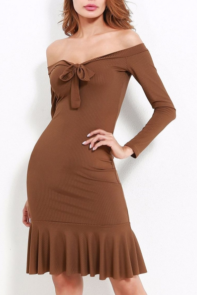 Fashion Bow Tie Front Off Shoulder Long Sleeve Ruffle Hem Dress