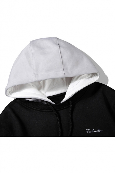 Block Drawstring Piece Two Fake Fashion Unisex Hood Hoodie Color Hwxq5XCv