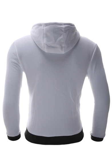 Hood Fashion Plain Zipper Simple Long Sleeve Hoodie Drawstring vO1AzOX
