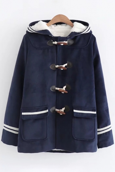 Single Sleeve Wool Breasted Striped Hooded Fashion Coat Flap Pocket Long Trim qEAPXnwxRO