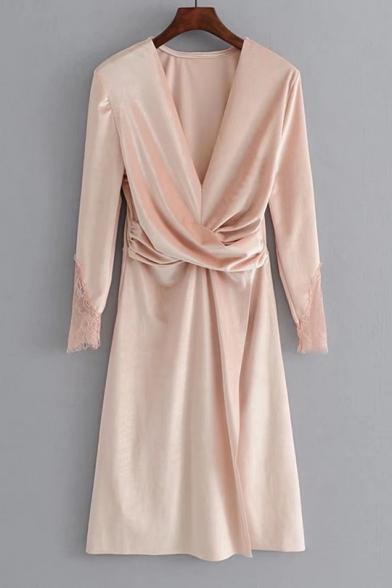 Fashion Wrap Front V-Neck Lace panel Long Sleeve Plain Dress
