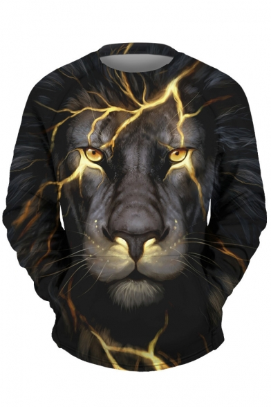 Fashionable Lightning Lion Print Round Neck Long Sleeve Pullover Sweatshirt