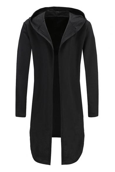 Fashionable Open Front Long Sleeves Hign Low Hem Hooded Plain Longline Coat