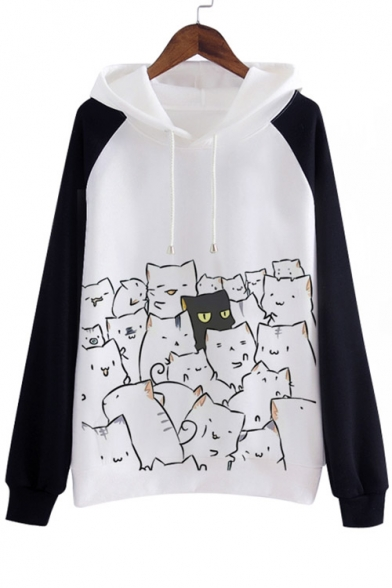 Long Cartoon Leisure Hoodie Sleeve Loose Print Cat f0ntnOqT