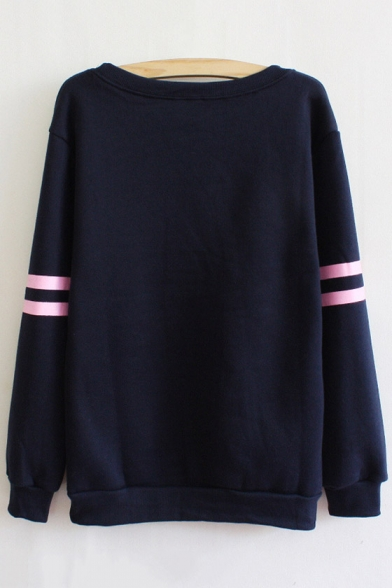 Long Sweatshirt Letter Print Ribbed Sleeve Pullover Sg0wBq
