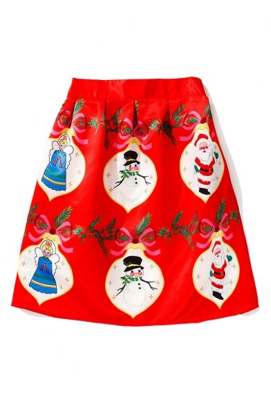 New Fashion Santa Snowman Christmas Angel Print A-Line Midi Skirt
