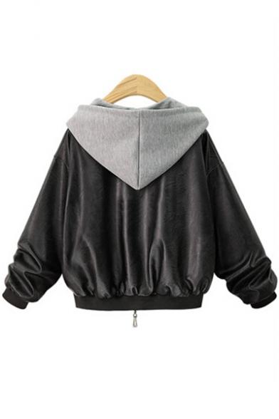 New Fashion Color Block Hooded Zip Placket Long Sleeve PU Jacket