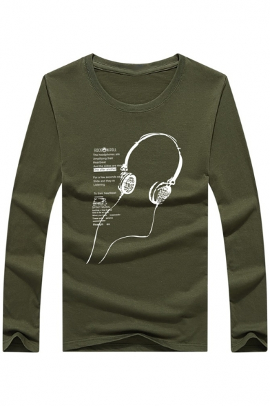 Neck Headphone Print New Shirt Fashion T Round Long Sleeve rqEEI5nF