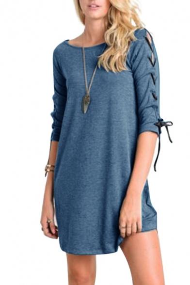 New Fashion Simple Plain Crisscross Ribbons Side Half Sleeve Mini Dress