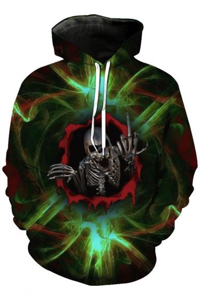 Fashion Sleeve Print New Skull Hoodie Long aIdx4qw4EZ