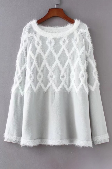 New Stylish Color Block Print Round Neck Long Sleeve Pullover Sweater