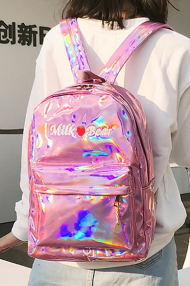 New Stylish Embroidered Pattern Laser Detail Backpack/School Bag