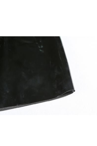 3d2d746dac89 ... New Stylish Zipper Front Simple Plain Faux Leather Mini Skirt