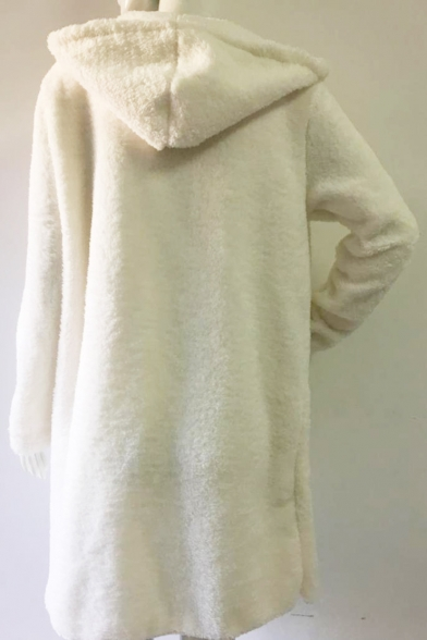 New Trendy Simple Plain Dopen Front Hooded Long Sleeve Cardigan