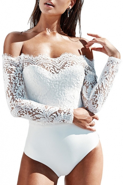 Bodysuit Lace Sleeve Plain Sexy Panel The Long Shoulder Off 4xfnTHcCq