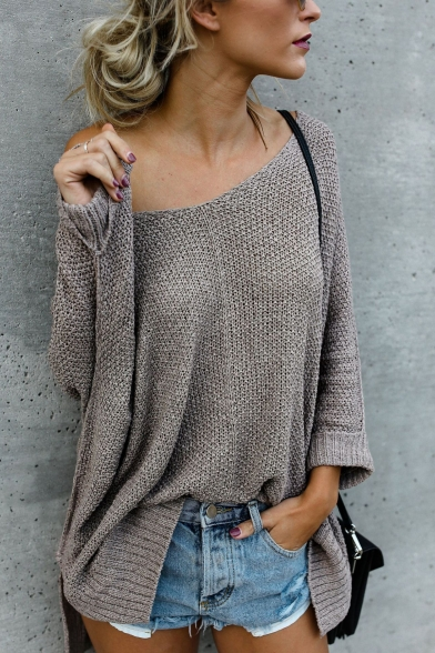 Plain One Sleeve Long Loose Sweater Shoulder Simple B0pwqdHH