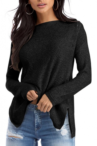 Simple Hem Pullover Sleeve Sweater Dipped Long Split Side Plain aaOwH