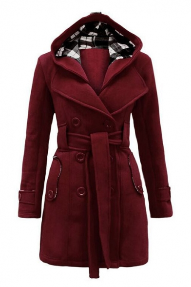 Simple Plain Lapel Hooded Double Breasted Long Sleeve Trench Coat