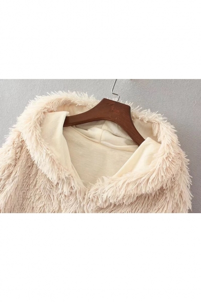 Fashion Hooded Coat Winter Fur Sleeves Fluffy Faux Long UdRqZT