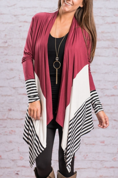 Women's Chic Color Block Striped Waterfall Open Front Long Sleeve Coat