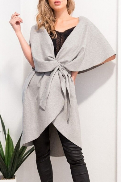 Chic Coat Oversize Cloak Front Sleeveless Lapel Simple Plain Tie qqwrTZFg