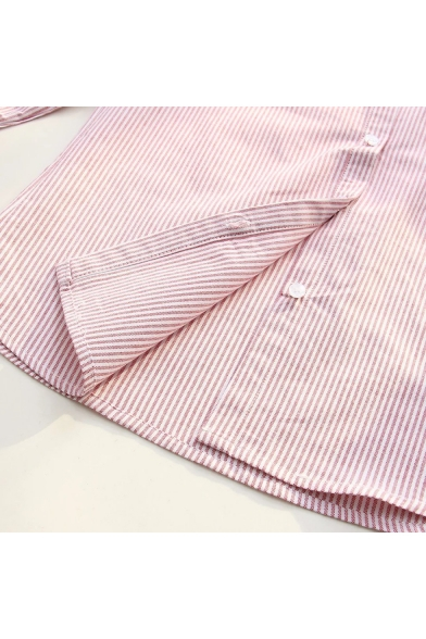 Chic Down Sleeve Shirt Striped Lapel Buttons Embroidered Long Bear a1q0Sa