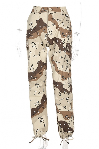 Color Block Camouflage Pattern High Waist Harem Pants