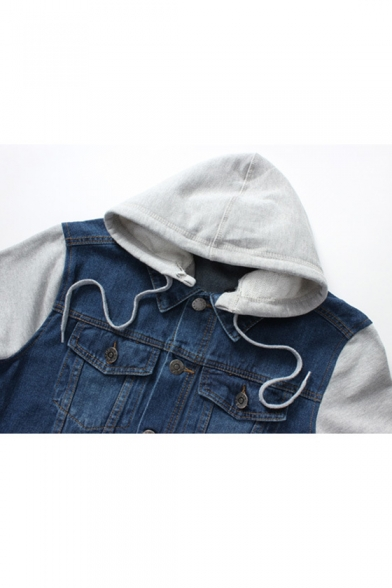 Sleeve Piece Two Denim Jacket Fake Fashion Long Hooded wEaIWq