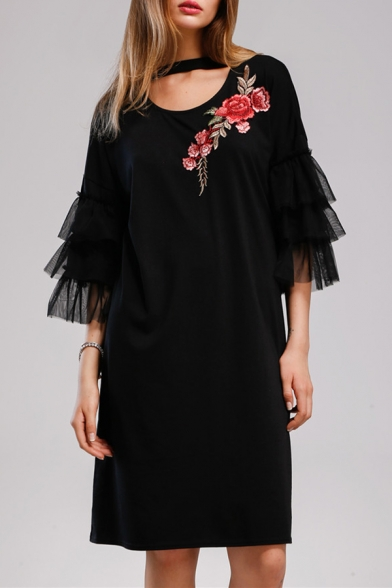 Rose Neck Mesh Keyhole Fashionable Embroidered Half Midi Sleeves Shift Choker Dress TEqTIwY