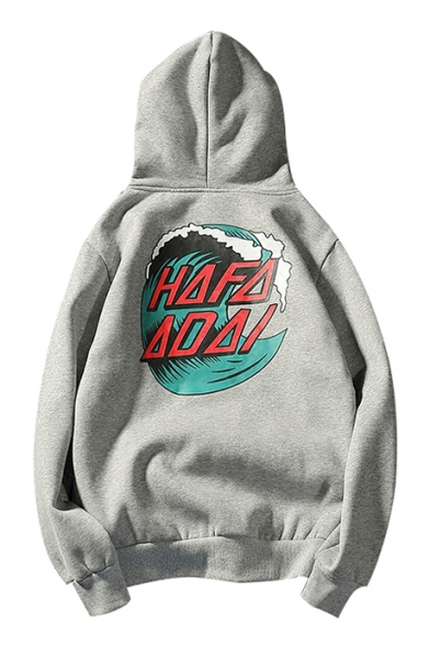 Sleeve Wave Hoodie Fashionable Letter Long Printed Pullover wZx0Iq5